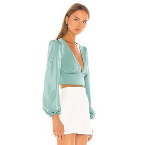 NBD Karina Puffy Blouson Sleeves Crop Top